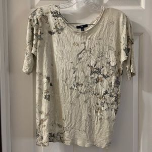 Gap Women's Cream/Grey Printed 1/2 Sleeve Top XS